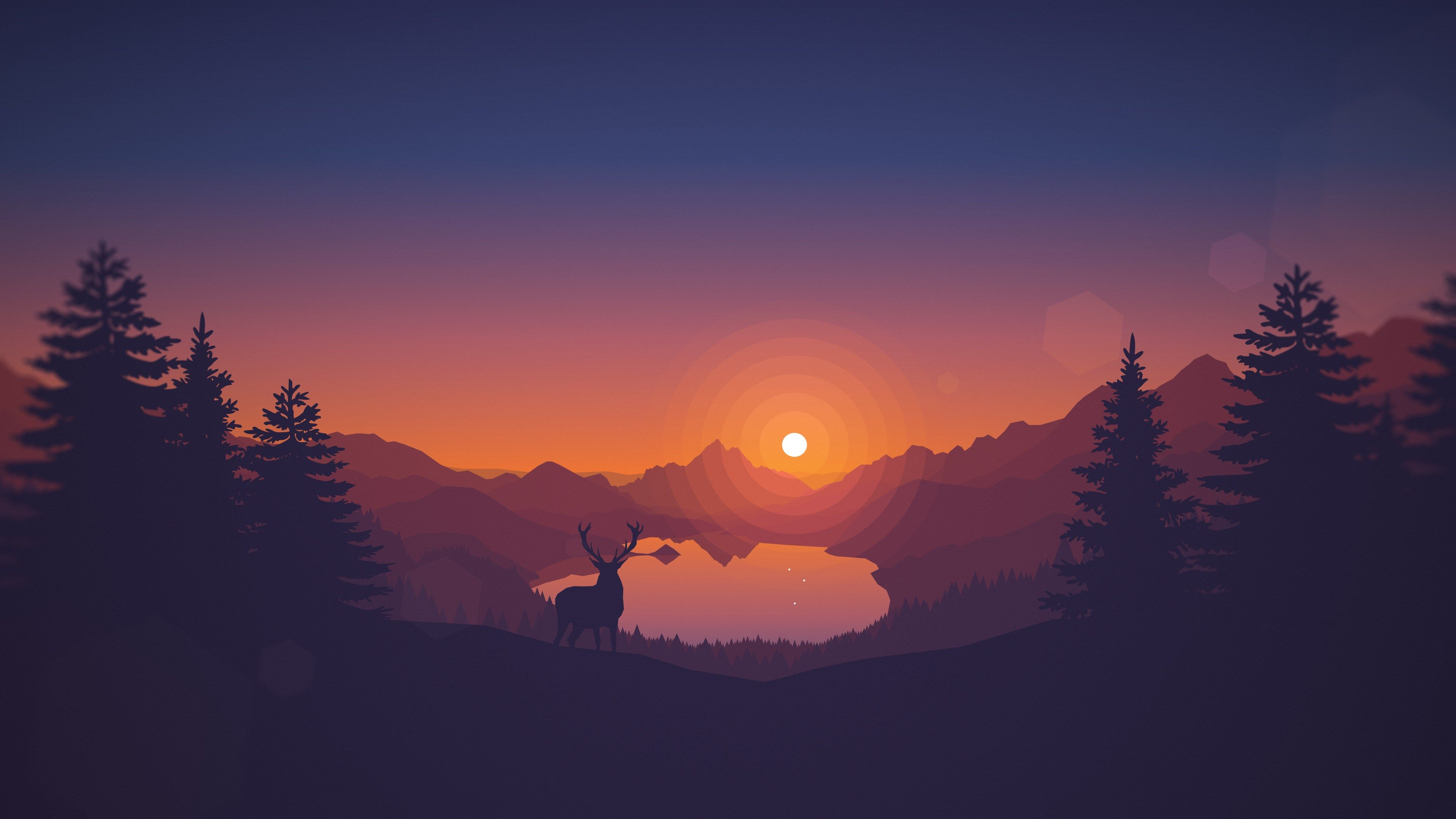 3840x2160 Free Desktop Backgrounds For Firewatch Landscape Wallpaper Sunset Wallpaper Minimalist Wallpaper