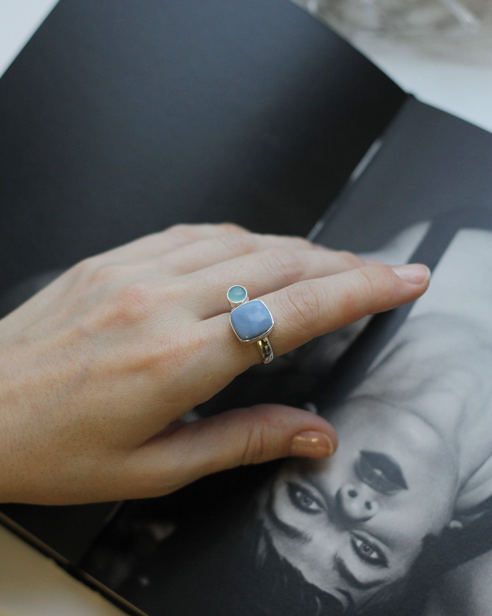 Crystal Quartz Silver Ring Gift for Women Small Faceted Gemstone Silver Ring