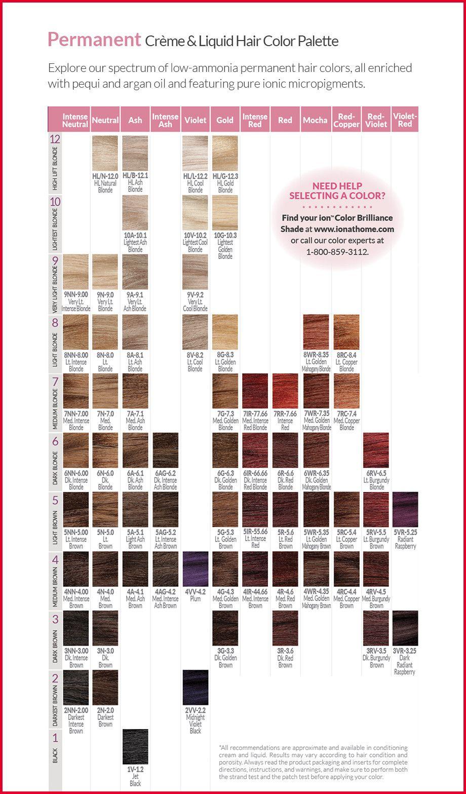 New Ion Permanent Hair Color Chart Pics Of Hair Color Trends Tweet Https Bestekurzehaare Com New Ion P Hair Color Chart Permanent Hair Color Ion Hair Colors