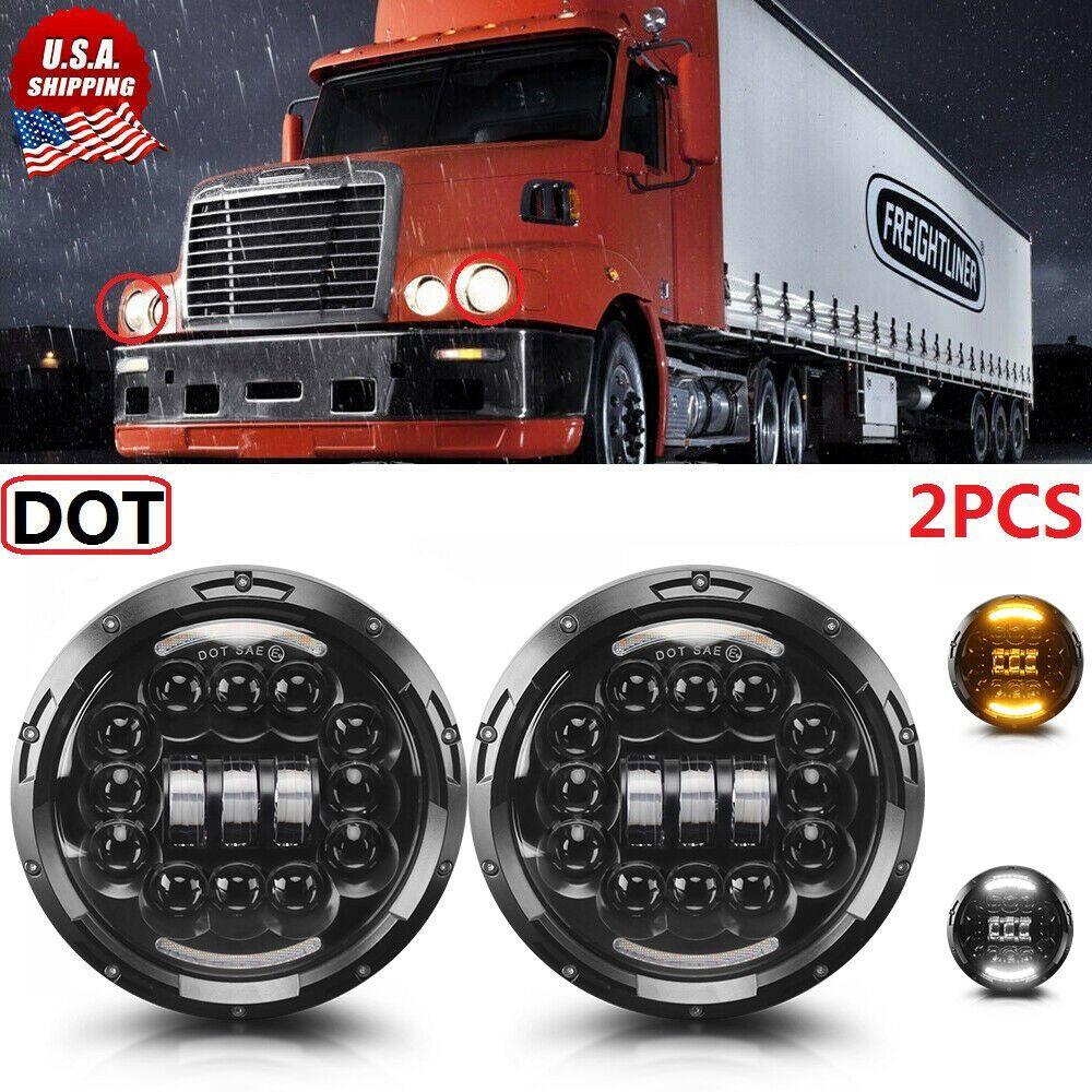 Ebay Sponsored 2pcs Dot Black 90w 7inch Round Led Headlight Hi Lo Beam For Freightliner Century Led Headlights Freightliner Beams