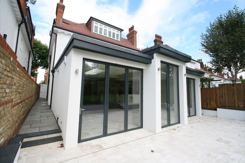 Contemporary Paving And Coping Stones Flat Roof Extension Single Storey Extension Roof Extension