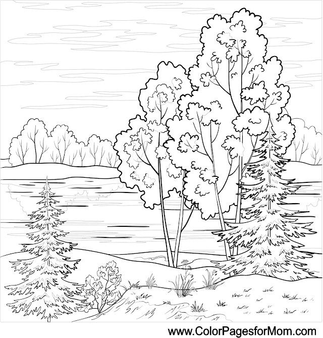 Landscape Coloring Page 16 Colorpagesforadults Coloring Landschaftssteppdecken Ausmalbilder Umrisszeichnungen