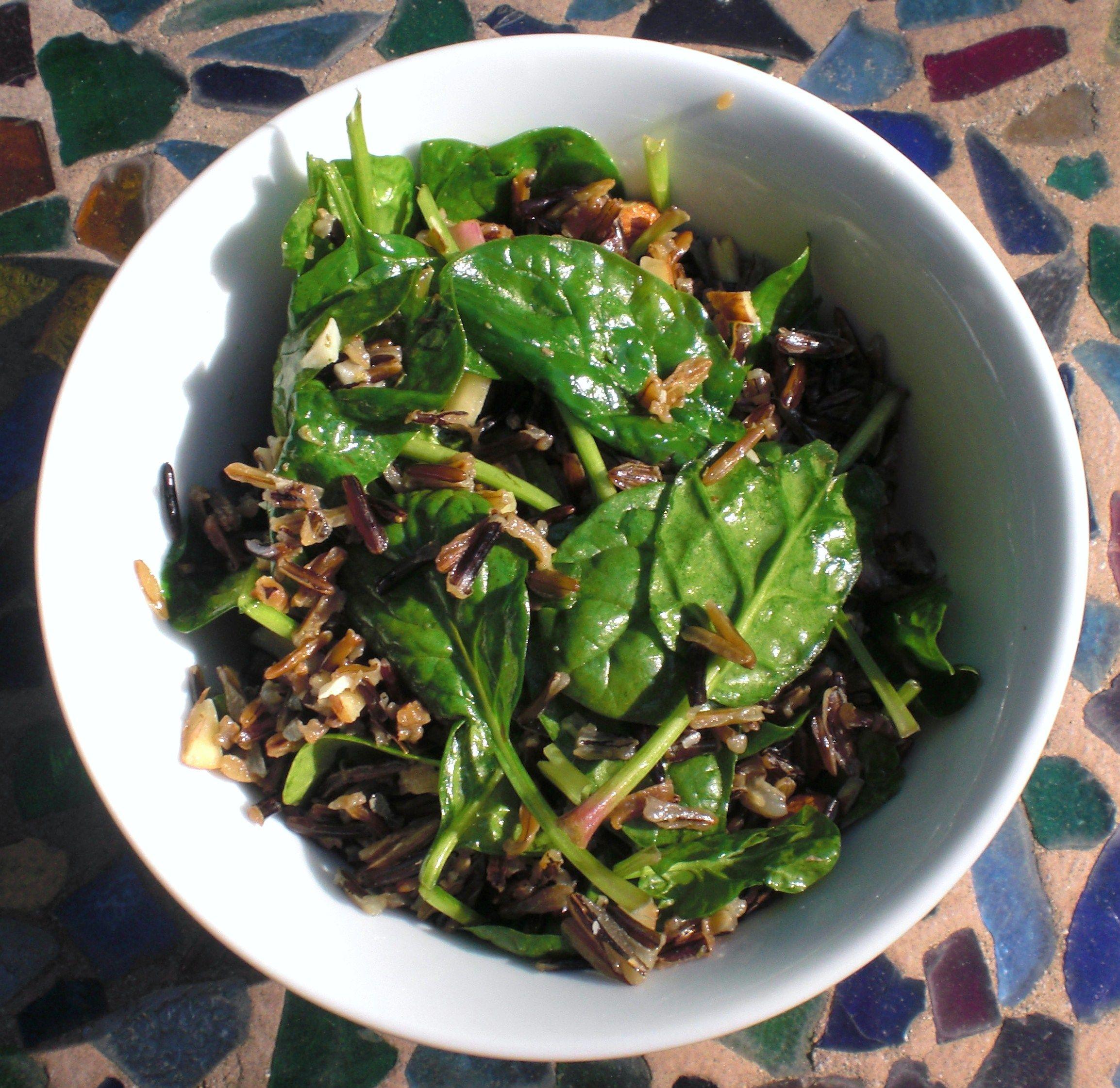 spinach wild rice salad