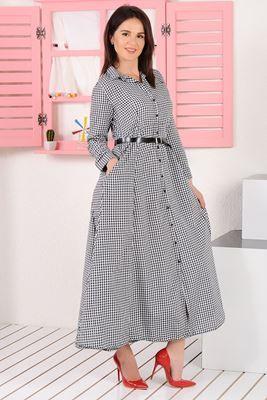 Detaylari Goster Piti Kareli Uzun Gomlek Elbise Elbise Modelleri Elbise Kadin Giyim