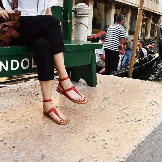 #red #leather #summer #sandals by #vialis