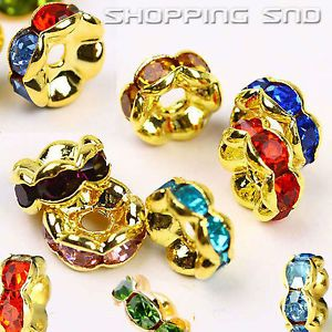 100pcs Premium Quality Czech Crystal Rhinestones  On Wavy Gold Rondelle Spacer Beads