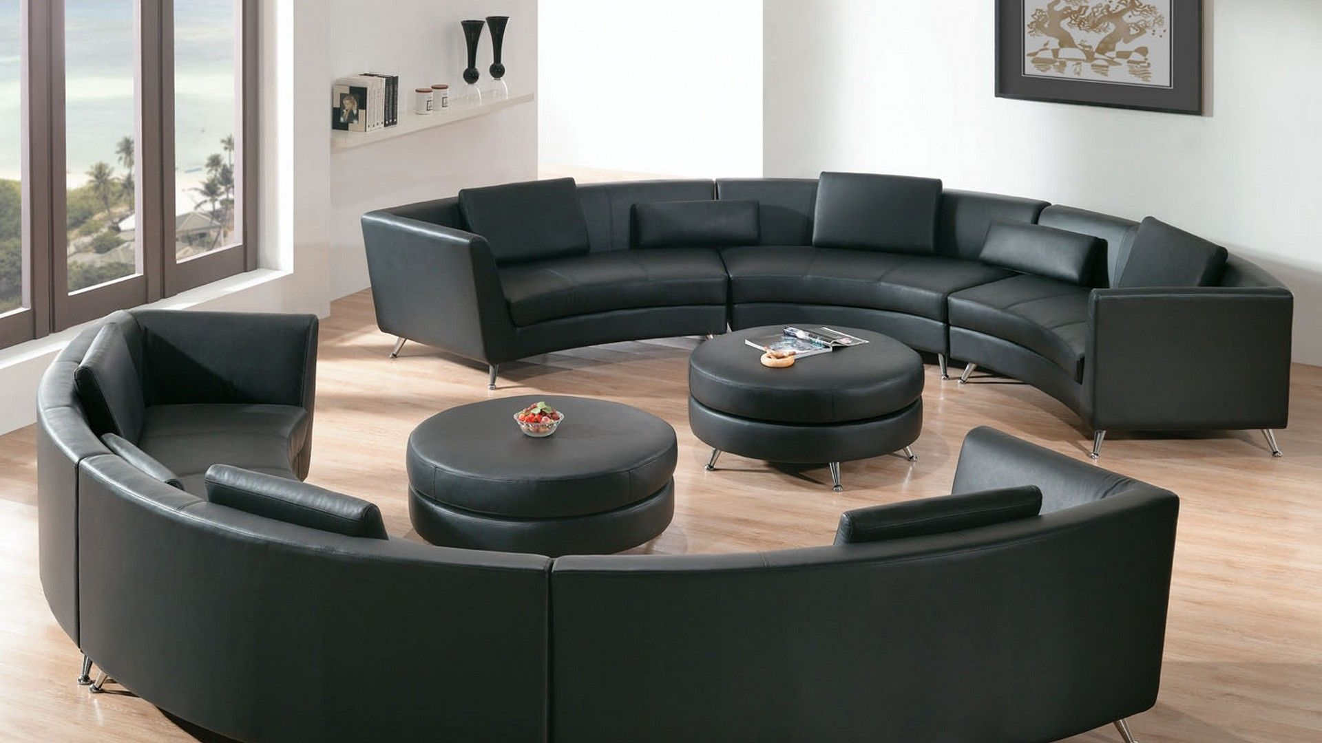 Two separated round sofa with double round tables include leather seats