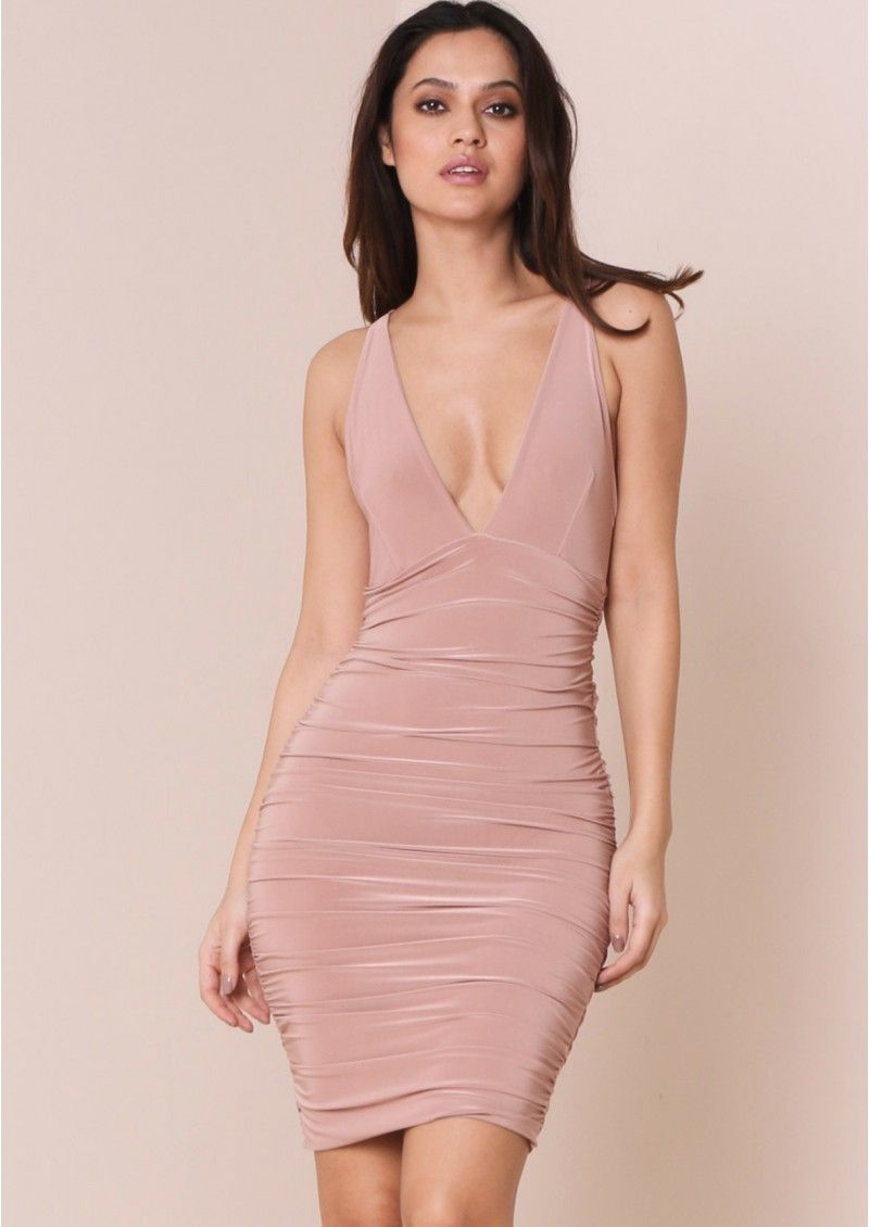 Phoenix Dusty Pink Ruched Cross Back Slinky Bodycon Dress ...