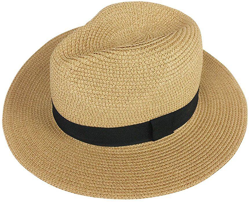 ebf9d35947e89 Lanzom Women Wide Brim Straw Panama Roll up Hat Fedora Beach Sun Hat UPF50+  (A-Beige) at Amazon Women s Clothing store