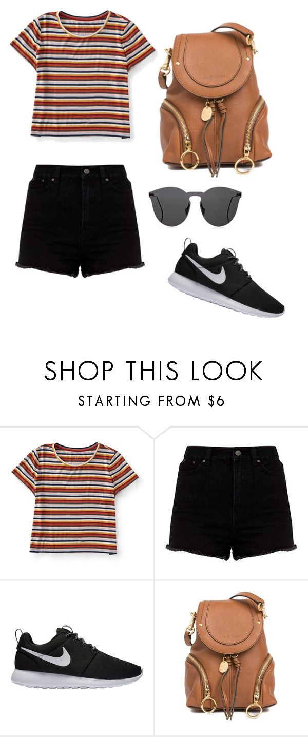 """School outfit"" by indrasavje-1 on Polyvore featuring Aéropostale, NIKE, See by Chloé and Illesteva"
