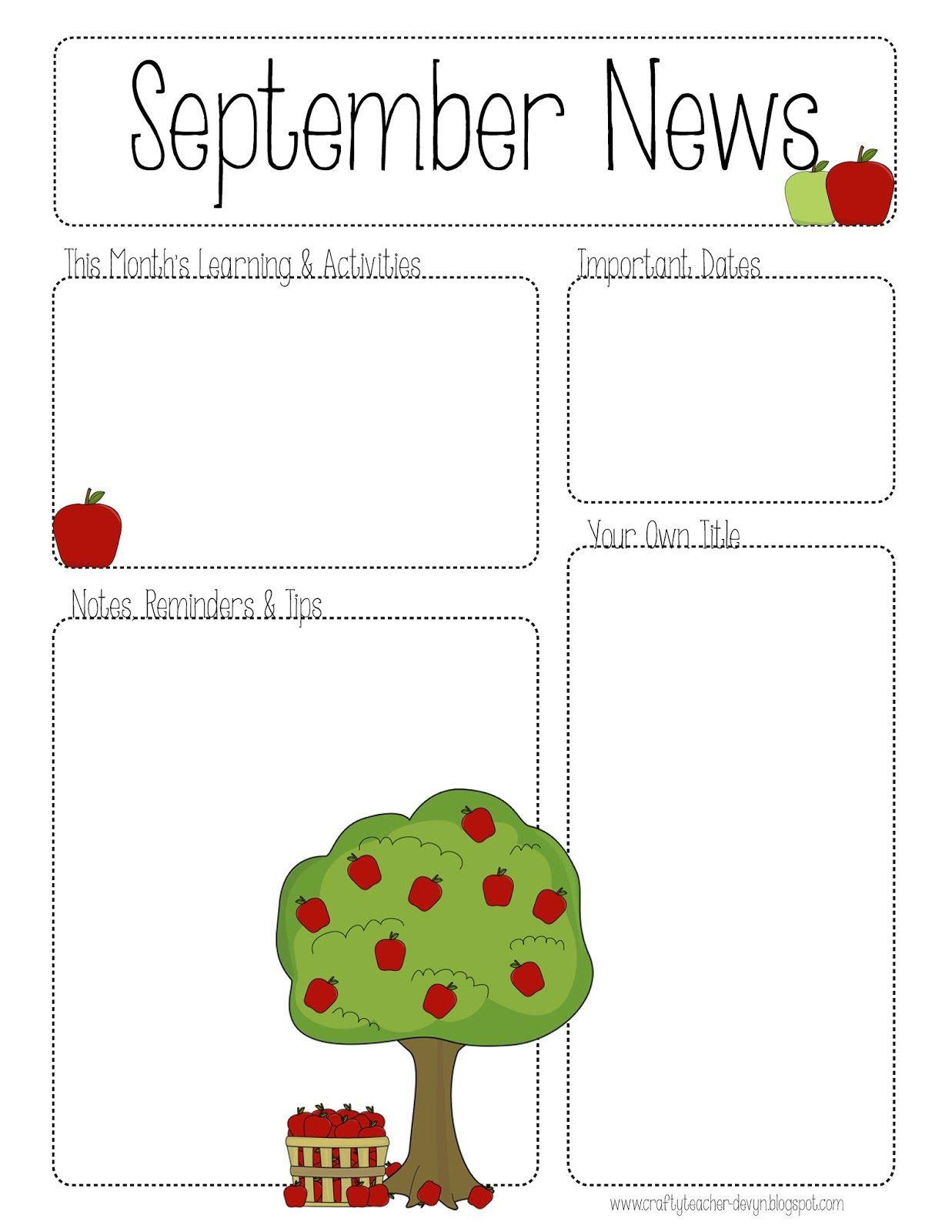 September Printable Newsletter All Grades