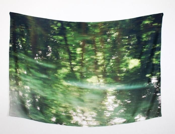 This Deserts + Lakes scarf features a photograph of scenery as seen from the window of a moving train.
