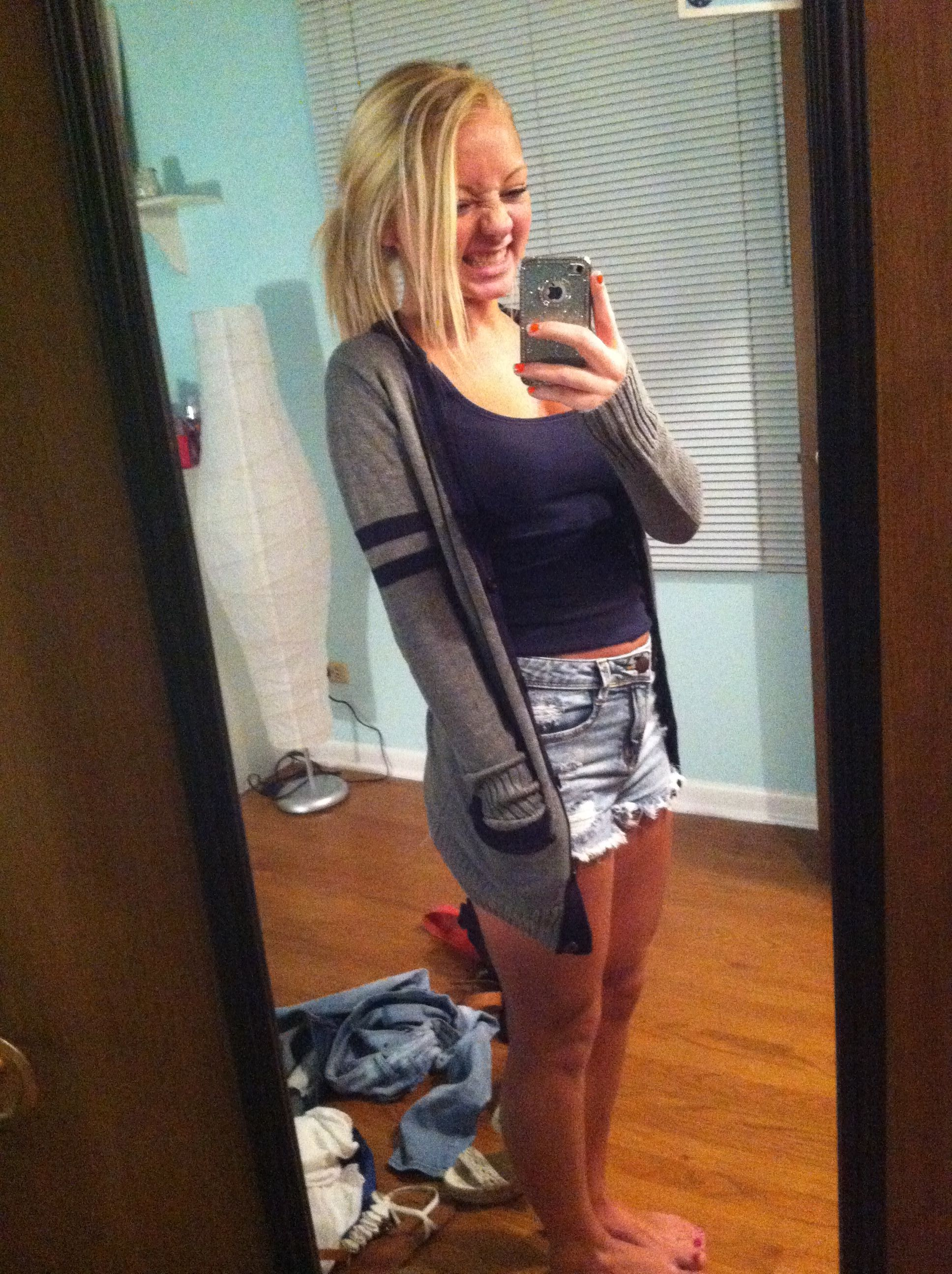 cute cozy comfy outfit blonde hair cardigan and shorts