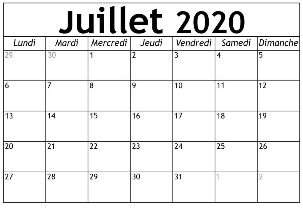 Calendrier 2020 Juillet à Imprimer Gratuit | nosuvia.in 2020