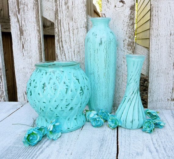 Painted Glass Vases  Teal Turquoise Painted por HuckleberryVntg, $24.00