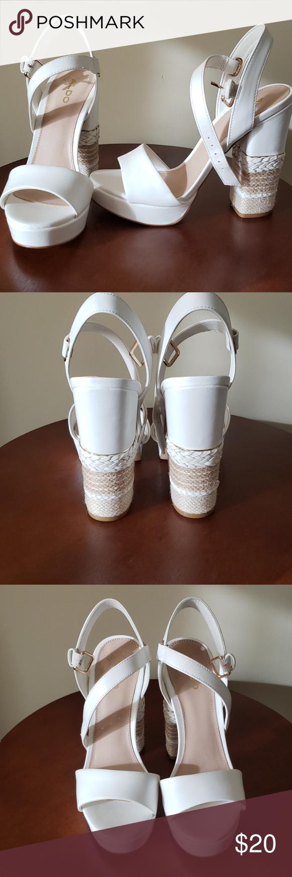 White Aldo Platform Sandal