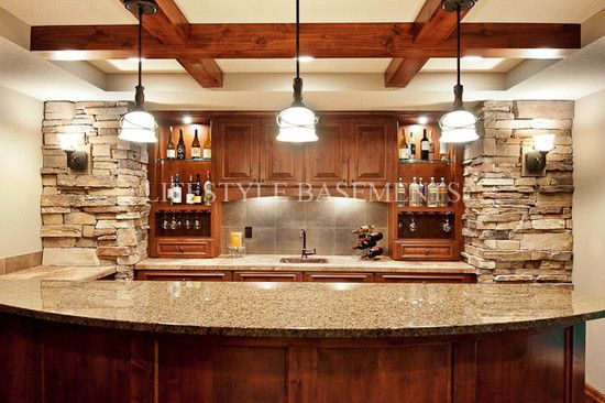 Basement Curved Stone Bar Rusitc Design Pictures Remodel Decor And Ideas Basement Bar Design Basement Bar Designs Wet Bar Basement