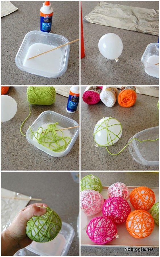 DIY Glue Yarn Ball Craft Tutorial