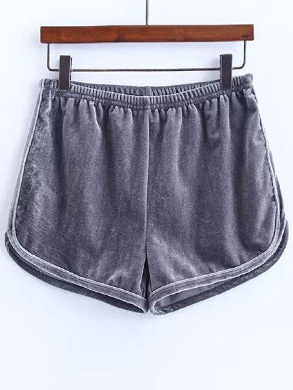 25f43362a6 Elastic Waist Velvet Shorts -SheIn(Sheinside) | Girls clothes ...
