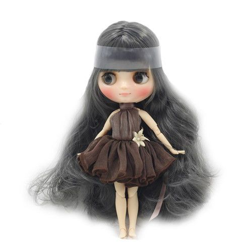 """8/"""" Neo Middie Blythe Doll  Nude Doll From Factory Dark Gray Long Curly Hair"""