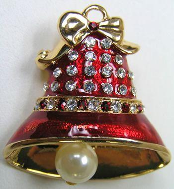 Eisenberg Christmas Bell Brooch Pearls  Rhinestones $15