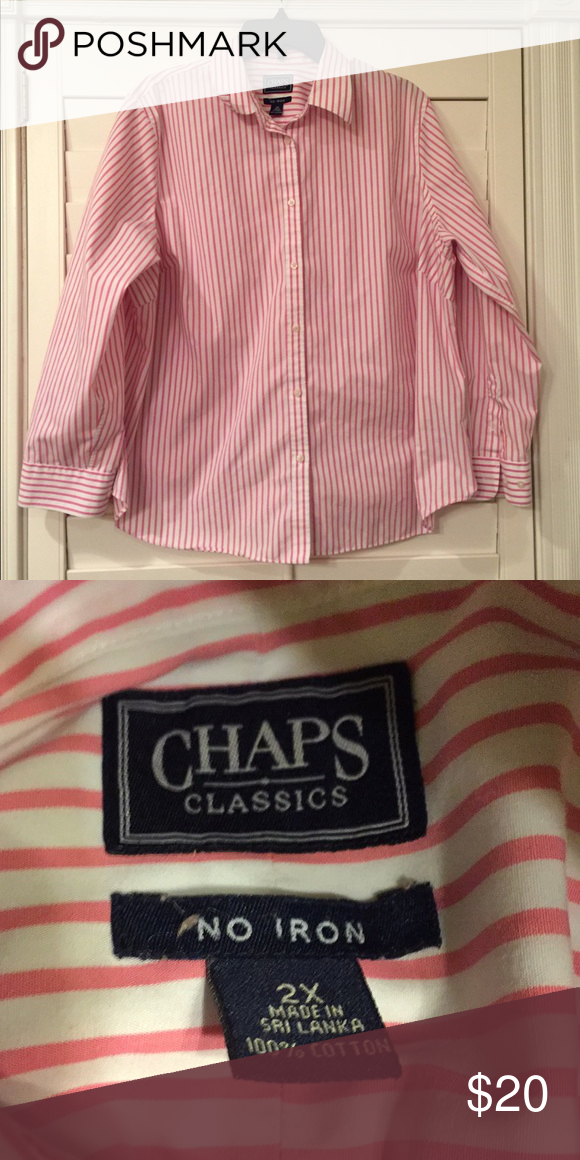 66f35419158 Chaps plus size No Iron Button Down Shirt sz 2X Like new long sleeved  button down shirt from Chaps in plus size 2X. Cotton in pink and white  stripes.
