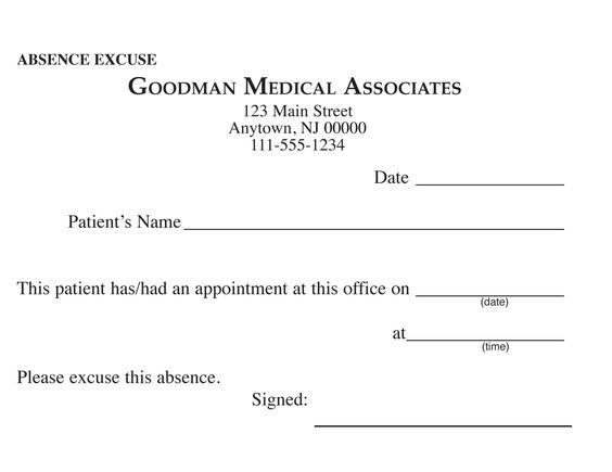 Blank Printable Doctor Excuse Form | Keskes Printing - MDs: | Paul ...