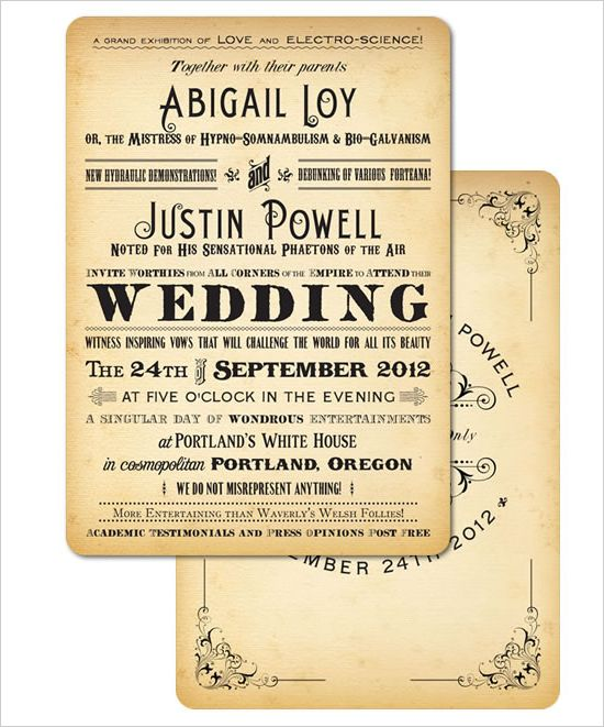 Royal Steamline Vintage Inspired Wedding Invites