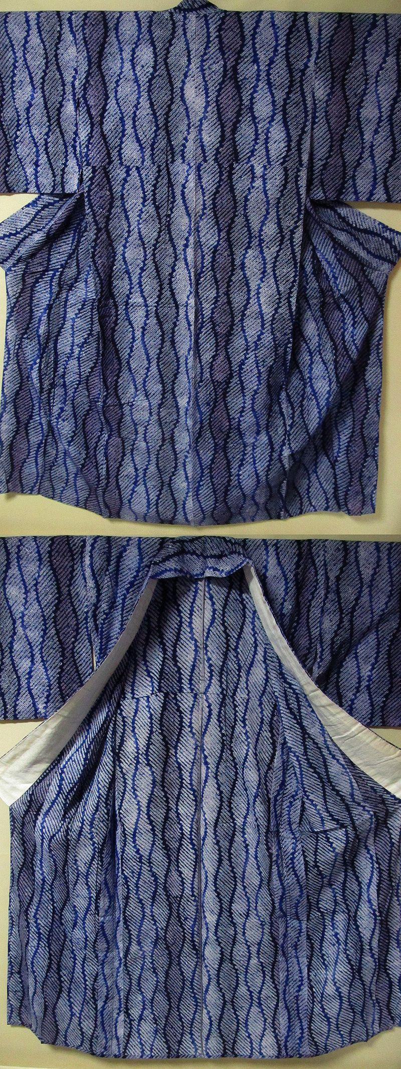 出品タイトル先頭3桁番号は管理用です。 276 有松絞り 浴衣 立湧 よろけ縞 極上美品 身丈158㎝ 裄65㎝ 流行と無関係の古典柄です。…