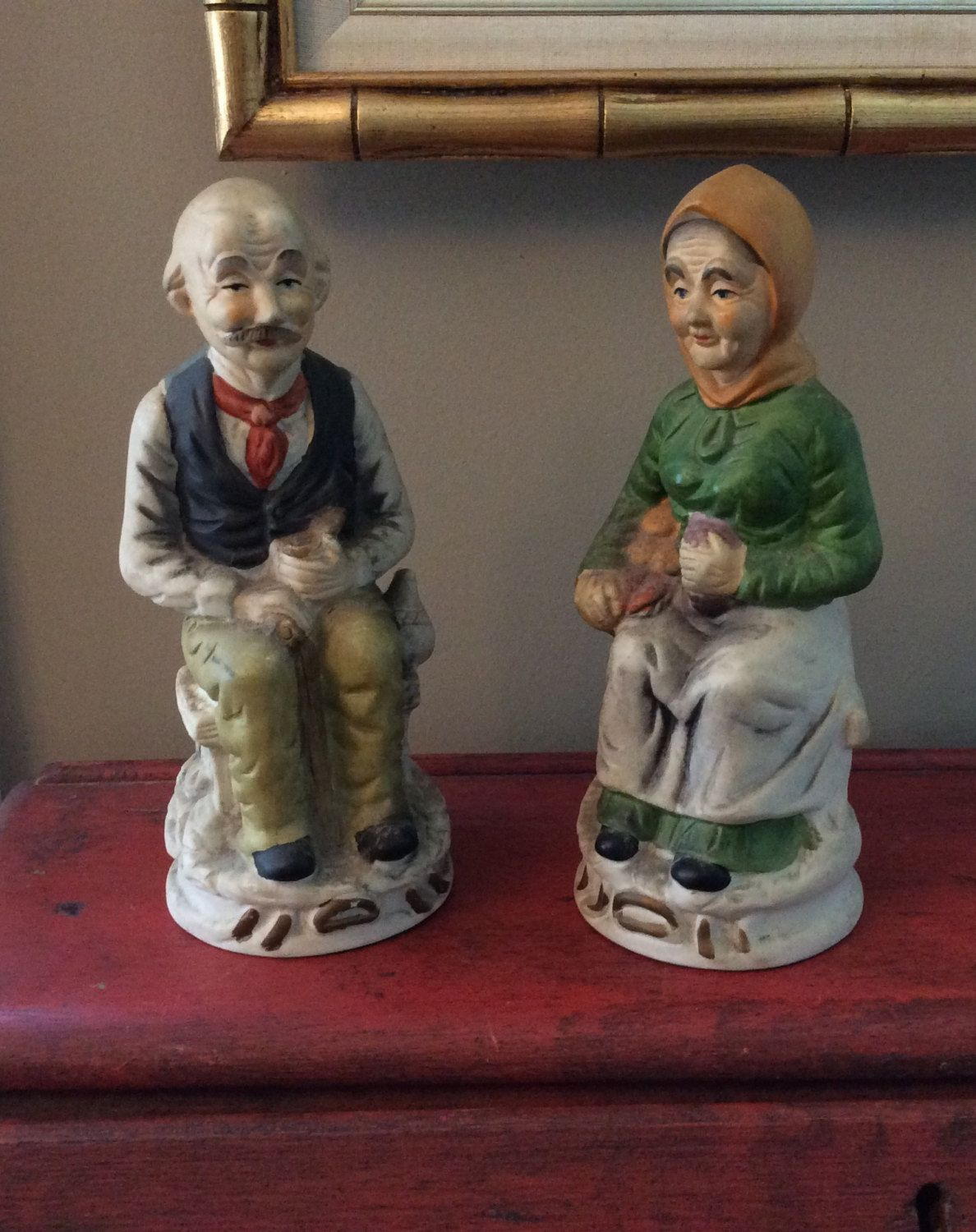 Sitting Old Man Lady Pair Porcelain Figurines Home Interiors