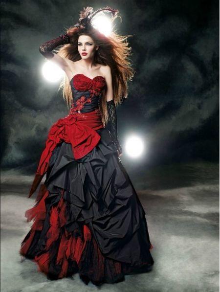 Red and Black Gothic Wedding Dress - Devilnight.co.uk  c1f8496ab