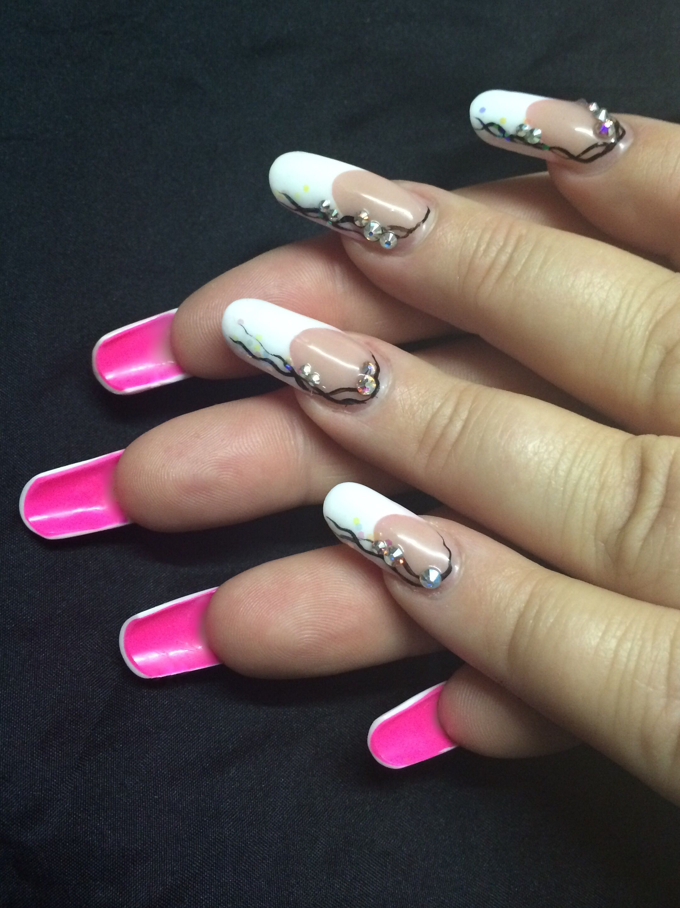 Acrylic French nails with pink underside. Hand painted art and ...