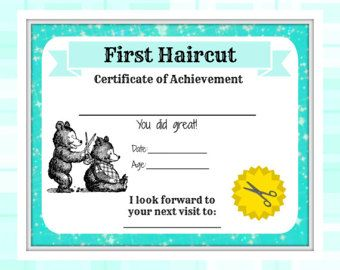 Image result for certificate of first haircut first for My first haircut certificate template