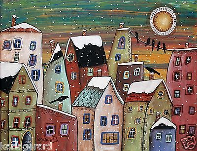 blizzard 14x11 houses city town original canvas painting folk art karla gerard brand new. Black Bedroom Furniture Sets. Home Design Ideas