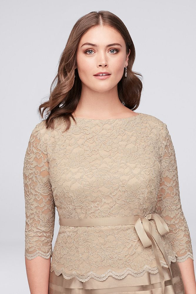 f7ed9fd61ae Lace and Striped Organza Plus Size Midi Dress Style 4121004 ...
