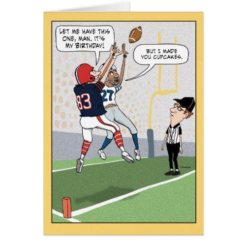 Funny Football Birthday Card Zazzle Com Football Birthday Football Funny Funny Birthday Cards