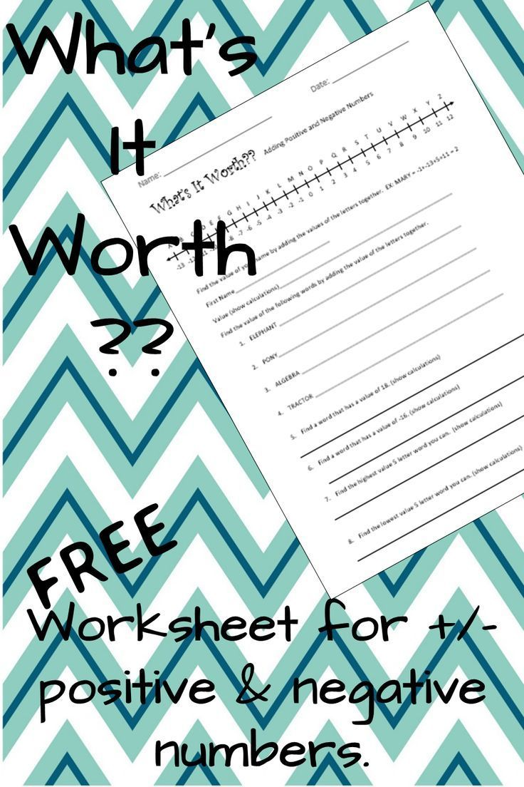 FREE Worksheet for adding & subtracting positive and negative ...