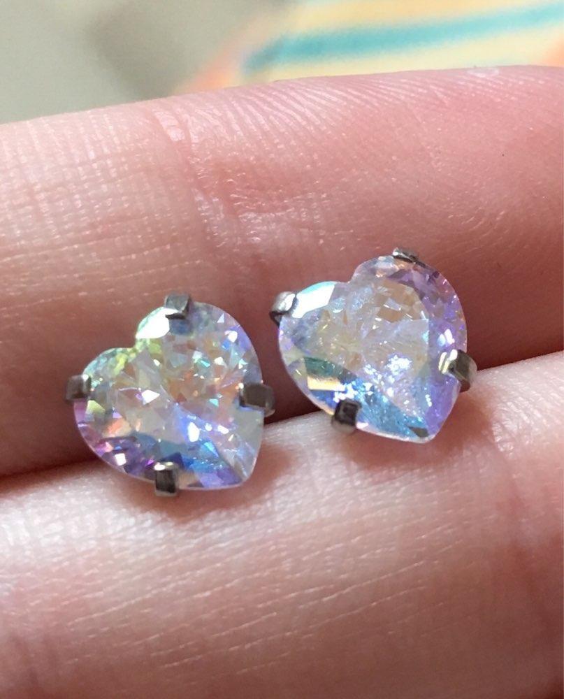 Piercing ideas for girls  Amie Swarovski Crystal Heart Ear Piercing Jewelry G Silver Earring