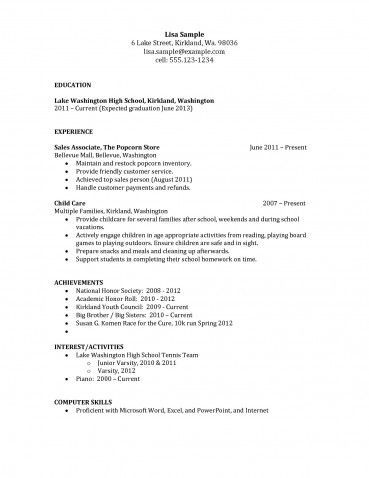 New Resume Examples for Highschool Students Resumes Sample High