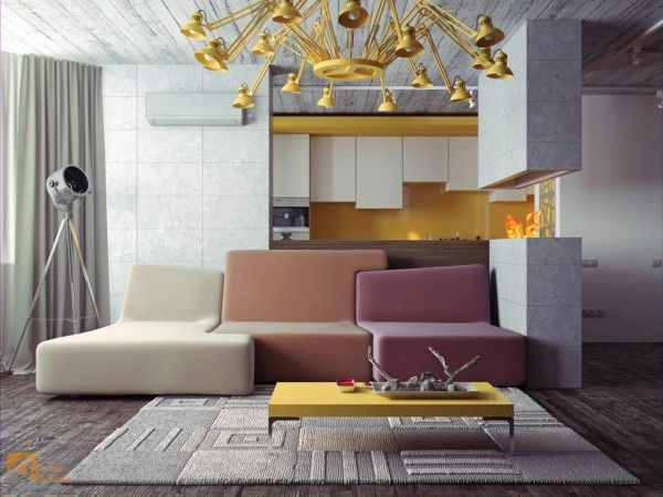 Excellent modern interior beautified with pallet color composition unique fresh modern designs with extraordinary lamp and furniture