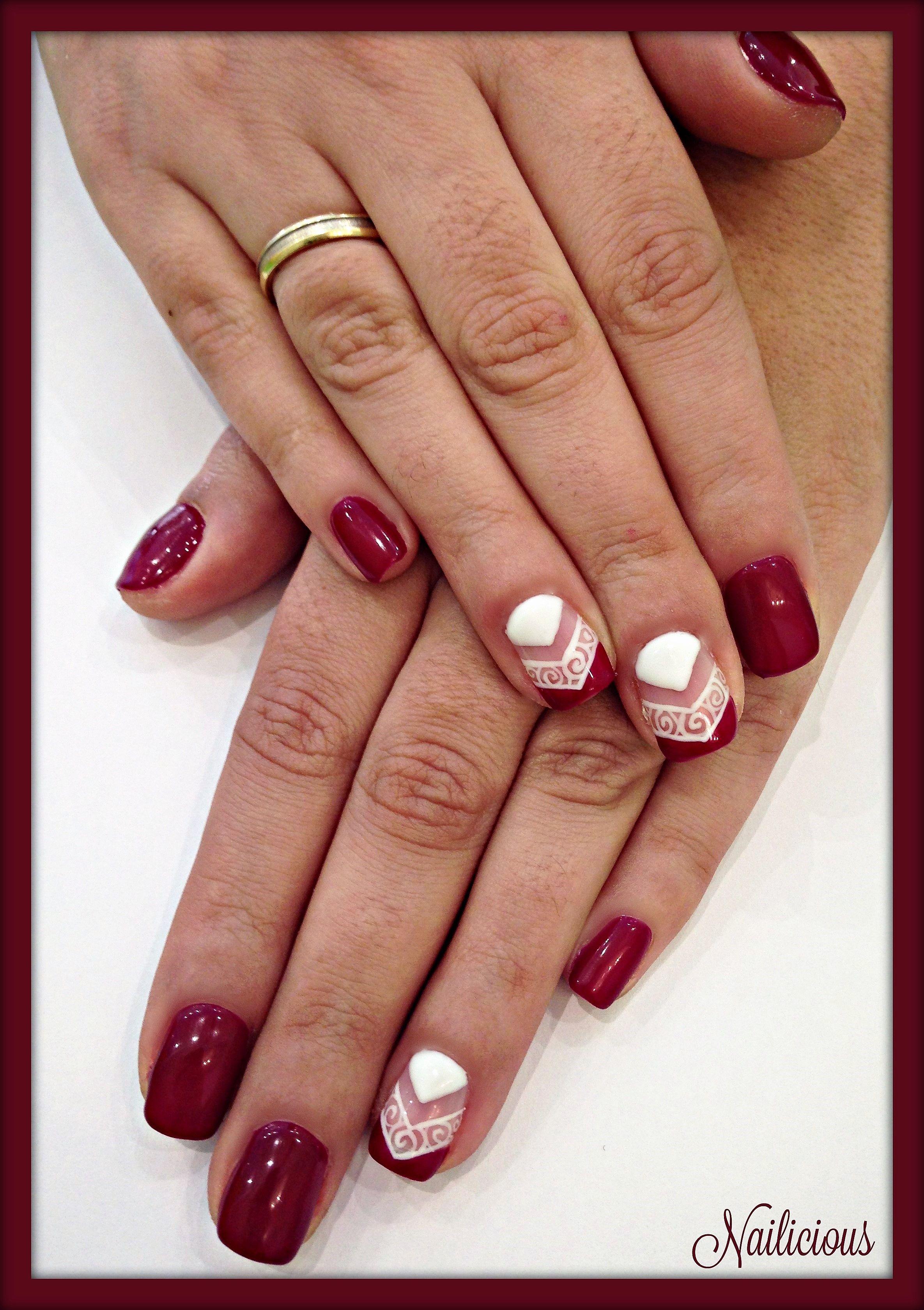 Burgundy Baroque Nail Art Nailicious My Beauty Salon Pinterest