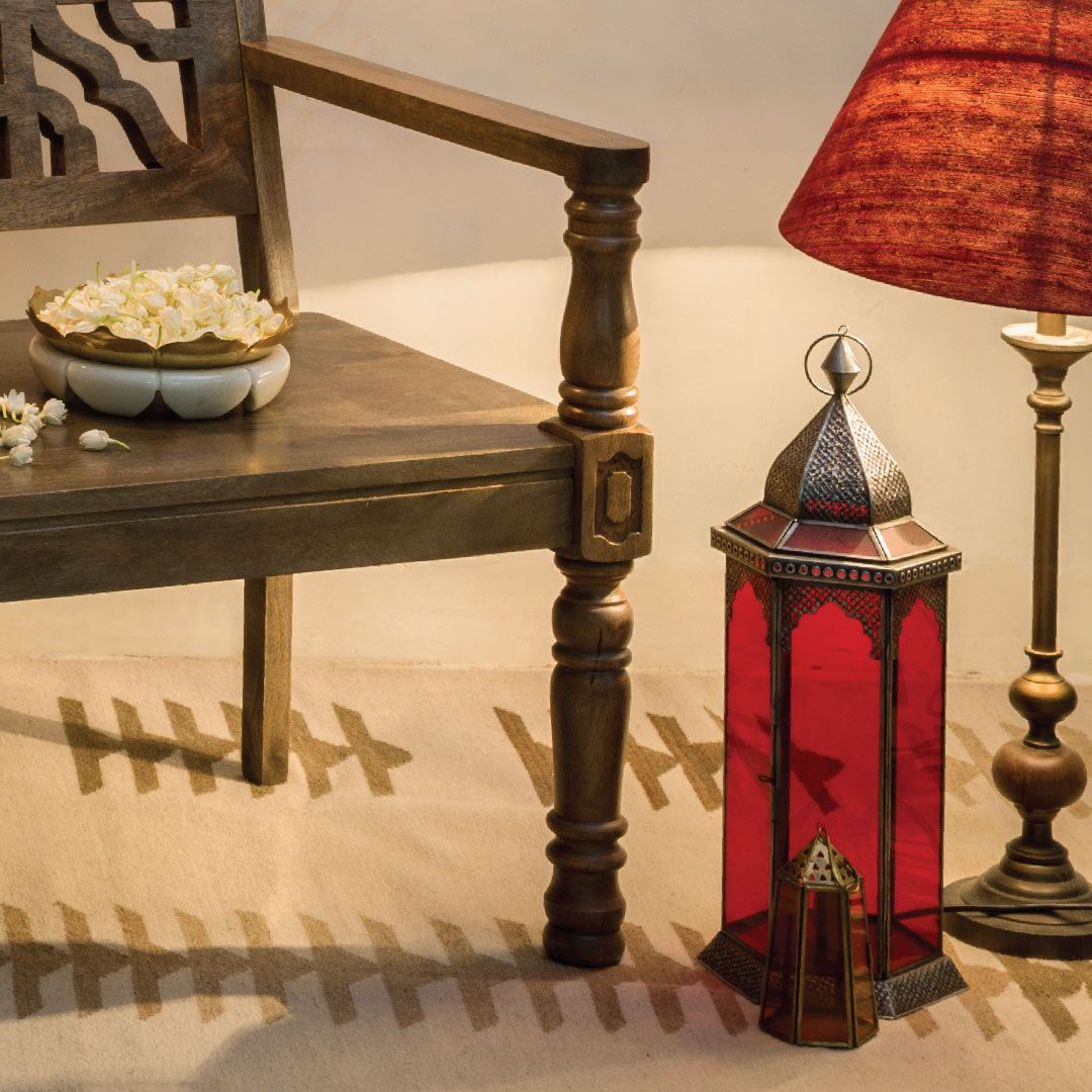 Wooden Bench Red Lantern Ambient Mood Lamps Lighting