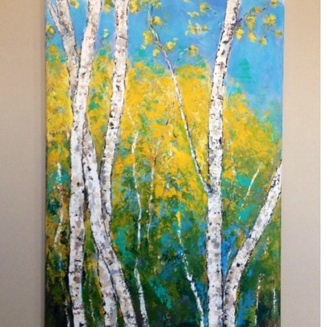 Birch Tree  Painting Oil Forest Original Art  Aspen Artwork Impasto Landscape Wall Art 16 by 12 by ArtGalleryEllieN