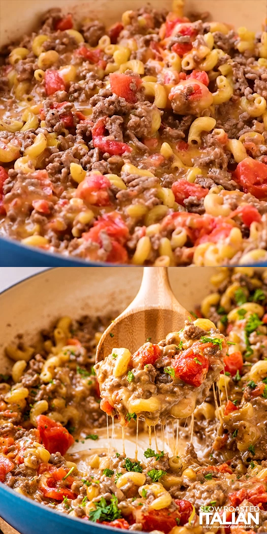 One-Pot Cheeseburger Macaroni - One-Pot Cheeseburger Macaroni is loaded with flavorful seasoned ground beef, tender pasta and ooey gooey cheese! This dish not only packs a ton of flavor but can be made in one pan from start to finish. It is like the Hamburger Helper recipe that my mom used to make. But this homemade version is so much better. #cheeseburgermacaroni #onepotdinners