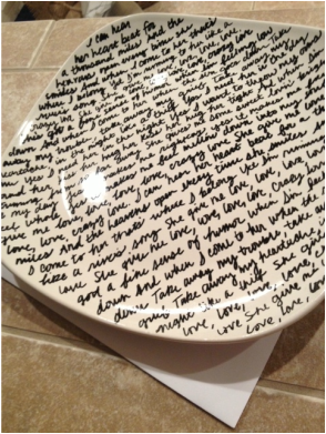 DIY decorative plate. Writing on plate. Song lyrics on plate. Affordable and meaningful wedding gift.