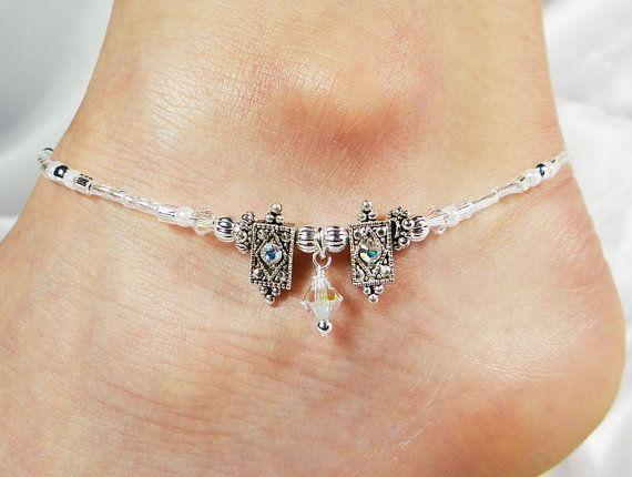 Anklet Ankle Bracelet, Dangle, Silver Clear AB Swarovski Crystals, Beaded Beach Vacation Elegant Formal Wedding, Bride, Bridal Party, Resort