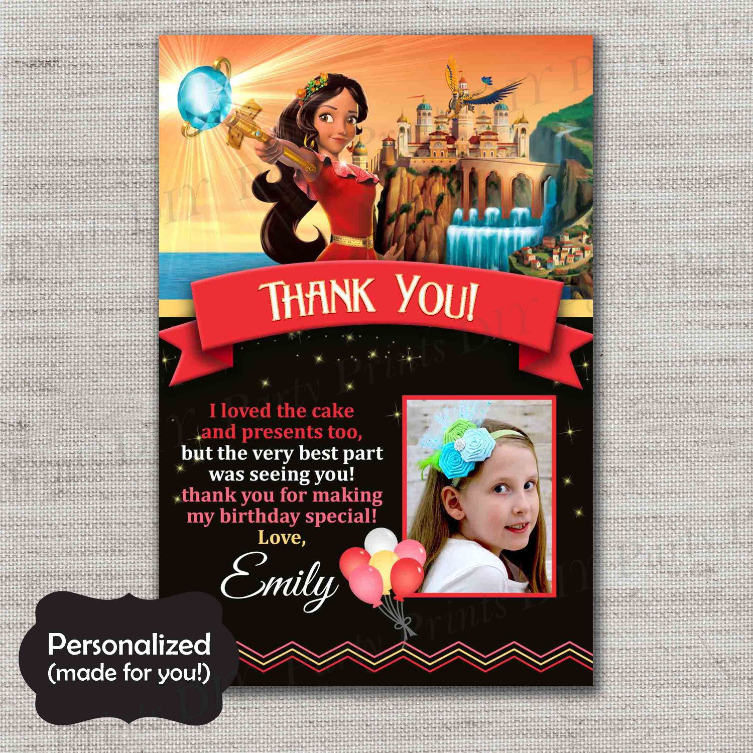 Elena of Avalor Thank You Card Elena Birthday Thank You Card JPG