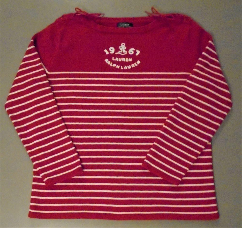 9fe713a77a Lauren Ralph Lauren Red White Striped Sweater L Anchor Nautical Lace Up  Shoulder  LaurenRalphLauren  CardiganSweater  Casual