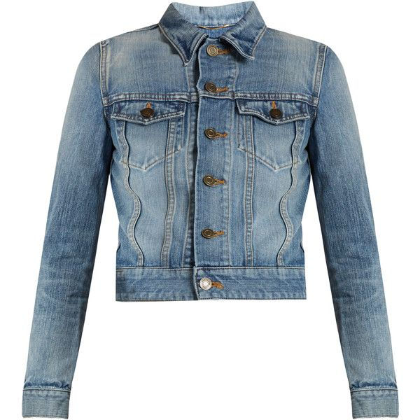 Saint Laurent Love-embroidered denim jacket ($1,990) ❤ liked on Polyvore featuring outerwear, jackets, leather jackets, real leather jackets, blue denim jacket, blue jean jacket and metallic jackets