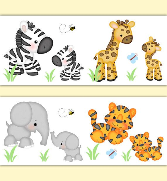 Safari Animals Nursery Baby Boy Neutral Wallpaper Border